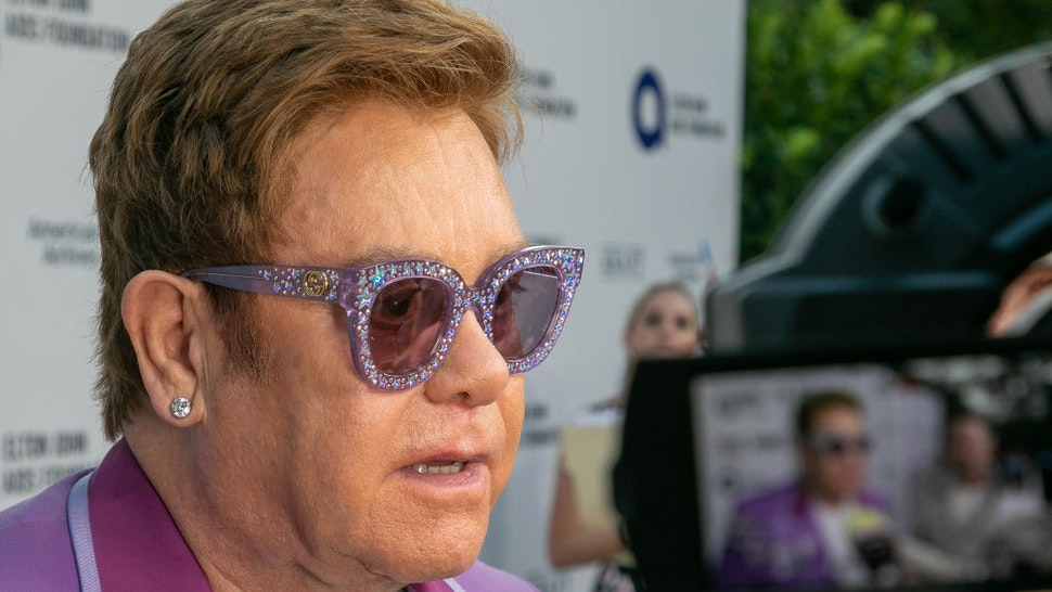 """Singer Elton John attends the first """"Midsummer Party"""" hosted by Elton John and David Furnish to raise funds for the Elton John Aids Foundation on July 24, 2019 in Antibes, France."""