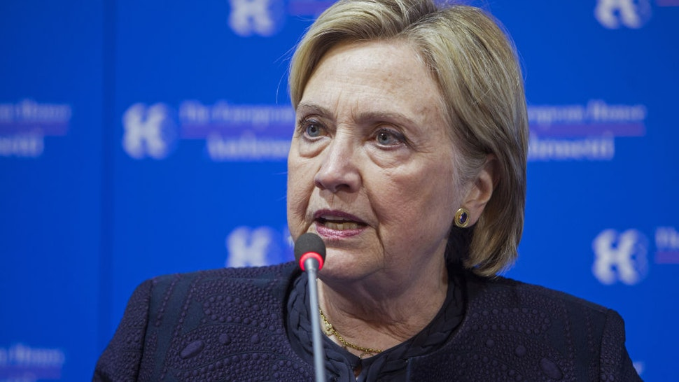 Hillary Clinton, former U.S. secretary of state, speaks during the Ambrosetti Forum in Cernobbio, Italy, on Saturday, Sept. 7, 2019.
