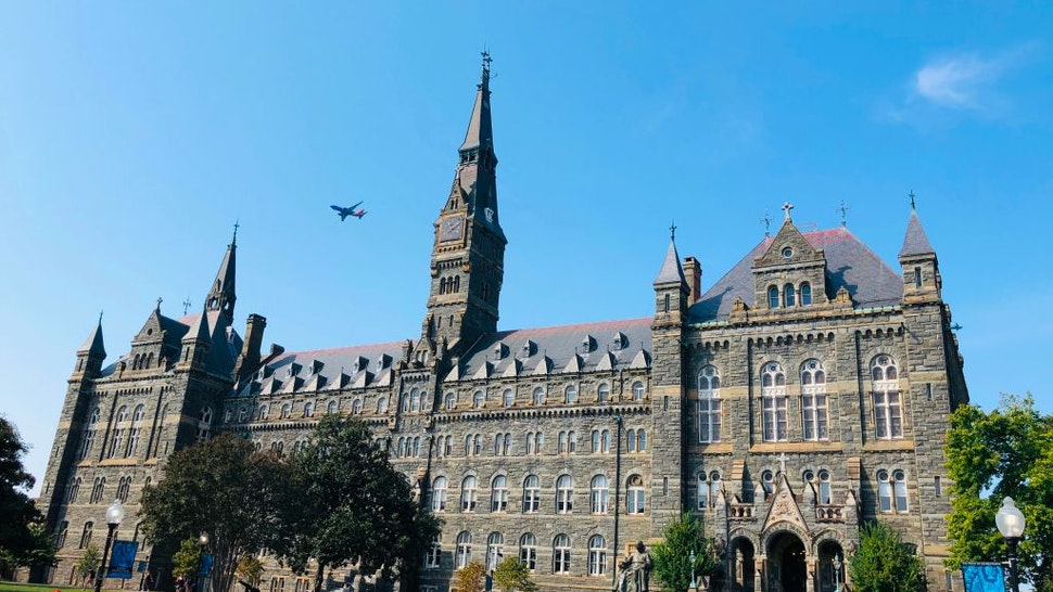 A view of Healy Hall at Georgetown University is seen on September 22, 2019 in Washington,DC. - Established in 1789, Georgetown is the nations oldest Catholic and Jesuit university.