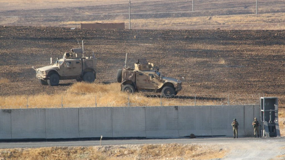 The Turkish and U.S. troops start their second joint ground patrol within a planned safe zone in northern Syria along the Syrian-Turkish border, in Sanliurfa, Turkey on September 24, 2019.