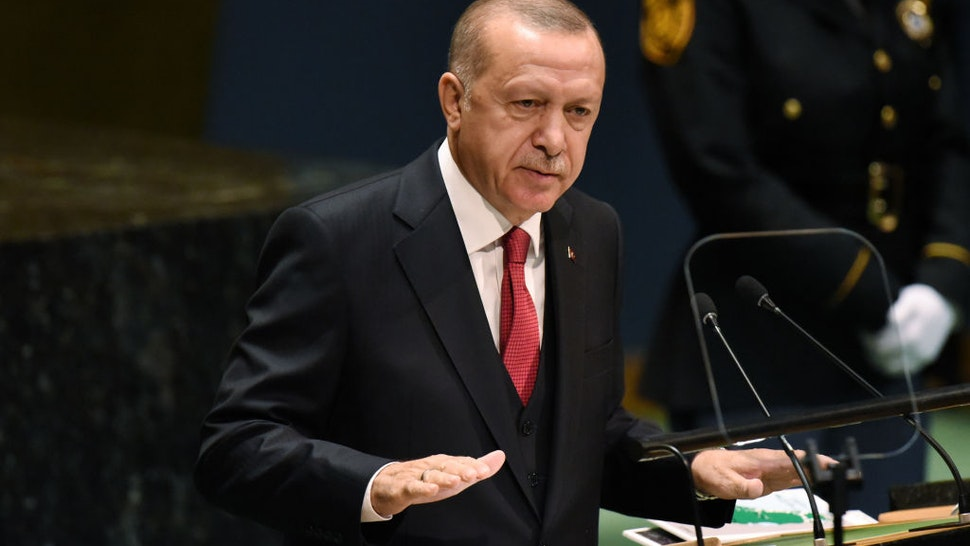 NEW YORK, NY - SEPTEMBER 24: Turkish President Recep Tayyip Erdoan speaks at the United Nations (U.N.) General Assembly on September 24, 2019 in New York City. World leaders are gathered for the 74th session of the UN amid a warning by Secretary-General Antonio Guterres in his address yesterday of the looming risk of a world splitting between the two largest economies - the U.S. and China.