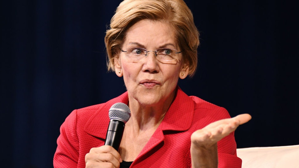 Senator Elizabeth Warren, a Democrat from Massachusetts and 2020 presidential candidate, speaks during the Presidential Gun Safety Forum in Las Vegas, Nevada, U.S., on Wednesday, Oct. 2, 2019.