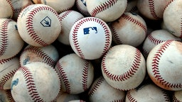 A detail shot of the MLB logo on batting practice balls before the game against the Peoria Javelinas and the Mesa Solar Sox at Sloan Park on Saturday, September 21, 2019 in Mesa, Arizona. (Photo by Jill Weisleder/MLB Photos via Getty Images)