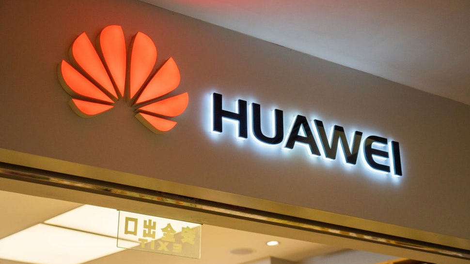 Chinese multinational technology company, Huawei logo seen in Shenzhen.