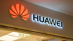 Chinese multinational technology company, Huawei logo seen in Shenzhen.