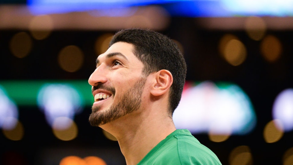 Enes Kanter #11 of the Boston Celtics smiles during warmups prior to the start of the game against the Cleveland Cavaliers at TD Garden on October 13, 2019 in Boston, Massachusetts.