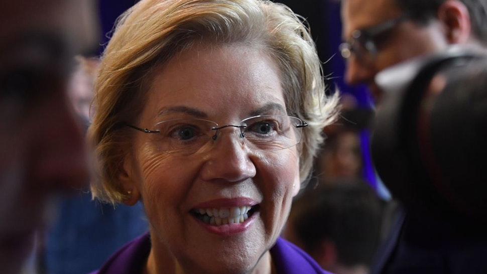 Democratic presidential hopeful Massachusetts Senator Elizabeth Warren speaks to the press in the spin room during the fourth Democratic primary debate of the 2020 presidential campaign season co-hosted by The New York Times and CNN at Otterbein University in Westerville, Ohio on October 15, 2019.