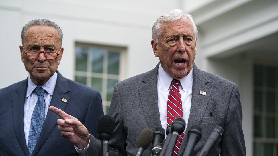 U.S. House Majority Leader Steny Hoyer, a Democrat from Maryland, speaks to members of the media following a meeting at the White House in Washington, D.C., U.S., on Wednesday, Oct. 16, 2019. A White House meeting between President Donald Trump and congressional leaders to discuss the situation with Turkey and Syria broke up amid insults and arguments, Democratic leaders said. Photographer: Alex Edelman/Bloomberg via Getty Images
