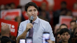 VAUGHAN, ON - OCTOBER 18: Liberal Leader and Canadian Prime Minister Justin Trudeau speaks to a room of supporters as he takes part in a campaign rally ahead the federal election, on October 18, 2019 in Vaughan, Canada. Canada will hold elections on October 21. (Photo by Cole Burston/Getty Images)