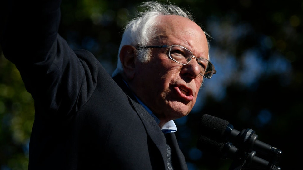 en. Bernie Sanders of Vermont speaks on stage after receiving the endorsement of Alexandria Ocasio-Cortez during a Bernies Back rally in Queens, NY, on October 19, 2019.