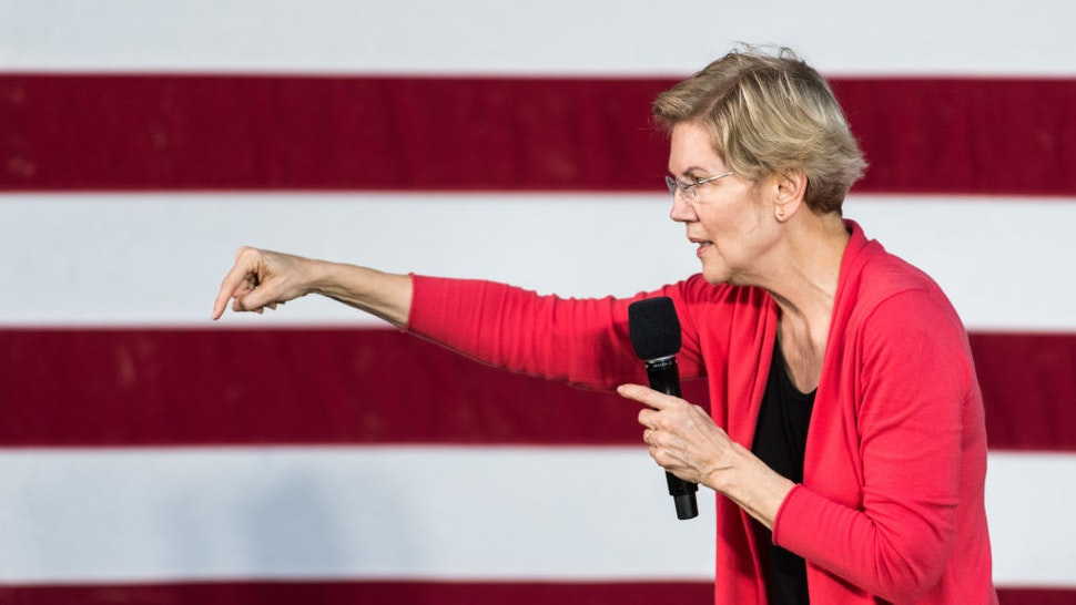 Democratic presidential candidate, Sen. Elizabeth Warren (D-MA) addresses a crowd outside of the Francis Marion Performing Arts Center October 26, 2019 in Florence, South Carolina.