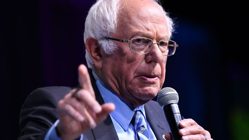 Democratic presidential candidate Sen. Bernie Sanders speaks during the 2019 J Street National Conference at the Walter E. Washington Convention Center in Washington, DC on October 28, 2019.