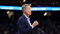 Head coach Steve Kerr of the Golden State Warriors stands on the side of the court during their game against the Los Angeles Lakers at Chase Center on October 05, 2019 in San Francisco, California.