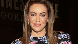 """Actress Alyssa Milano celebrates the release of her new book """"Project Middle School"""" at Barnes & Noble at The Grove on October 21, 2019 in Los Angeles, California."""