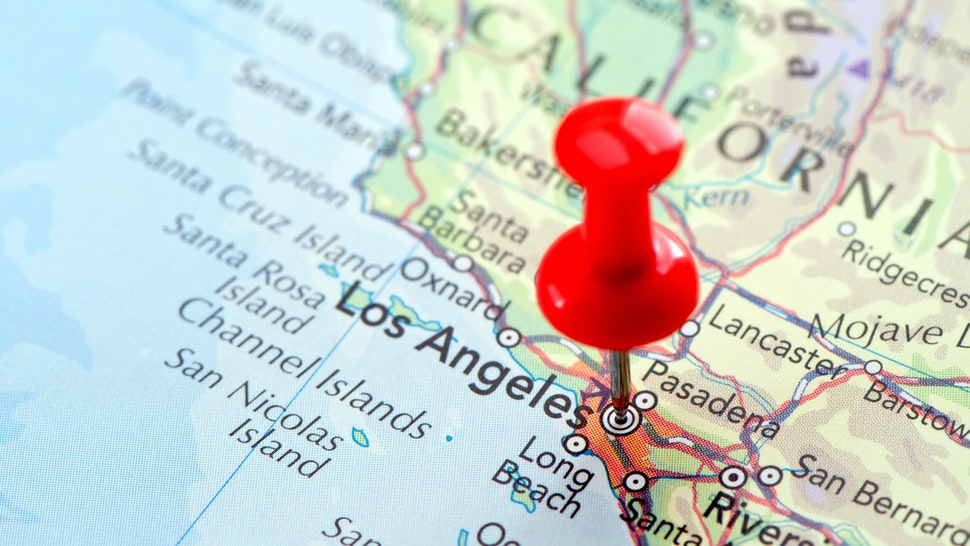 """Focus on Los Angeles on the Map. Source: """"World reference atlas"""""""