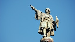 Christopher Columbus monument close to Las Ramblas in Barcelona, Spain.