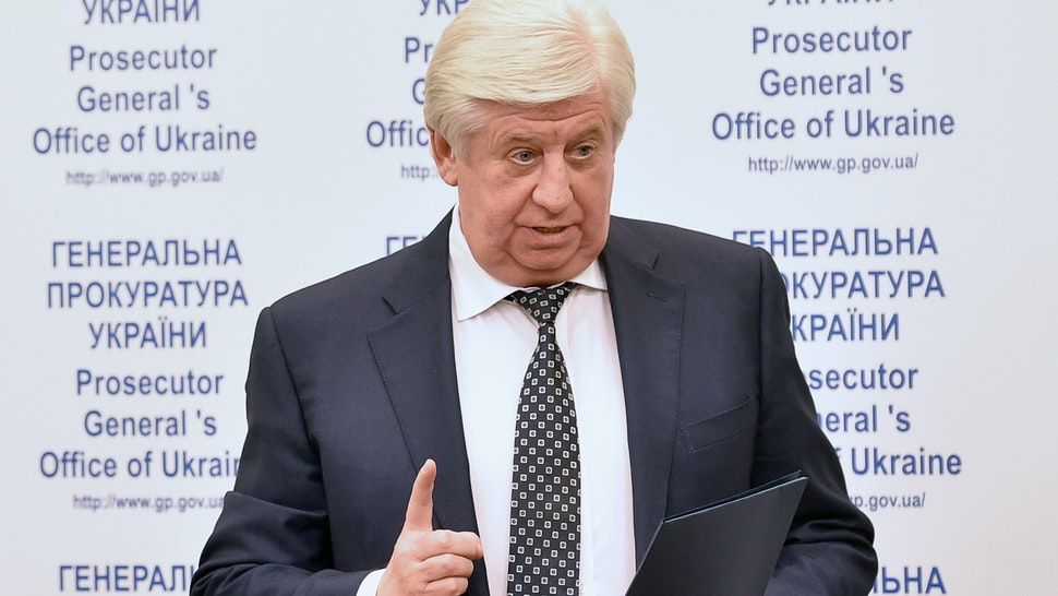 Ukrainian prosecutor general Viktor Shokin holds a press conference in Kiev on the situation in Dnipropetrovsk on November 2, 2015. Guennadi Korban, 45, a businessman close to the former governor of the eastern region of Dnipropetrovsk Igor Kolomoyski was arrested on October 31 as part of a crackdown on corruption and organised crime, authorities said.