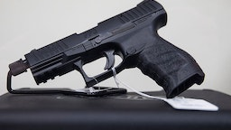 A Walther PPQ pistol for sale at Blue Ridge Arsenal in Chantilly, Va., USA on January 9, 2015.