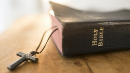 USA, New Jersey, View of Bible and cross - stock photo