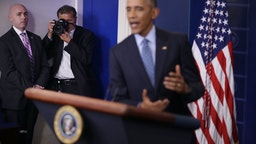 White House Chief Photographer Pete Souza makes images of U.S. President Barack Obama during the last news conference of his presidency in the Brady Press Briefing Room at the White House January 18, 2017 in Washington, DC. This was Obama's final question-and-answer session with reporters before New York real estate mogul and reality television personality Donald Trump is sworn in as the 45th president of the United States on Friday. (Photo by Chip Somodevilla/Getty Images)
