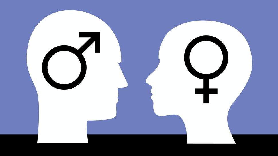 Vector illustration of male a male an female head facing each other with gender symbols on them.