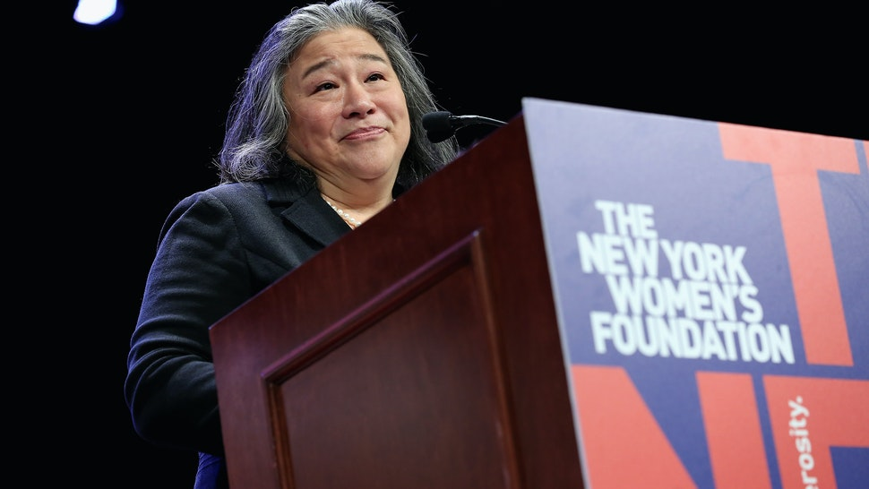 """Times Up Legal Defence Fund, Tina Tchen speaks onstage during the New York Women's Foundation's 2018 """"Celebrating Women"""" breakfast on May 10, 2018 in New York City."""