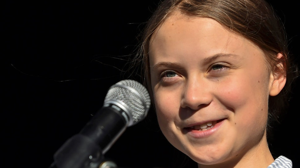 Swedish climate activist Greta Thunberg takes to the podium to address young activists and their supporters during the rally for action on climate change on September 27, 2019 in Montreal, Canada. Hundreds of thousands of people are expected to take part in what could be the city's largest climate march. (Photo by Minas Panagiotakis/Getty Images)