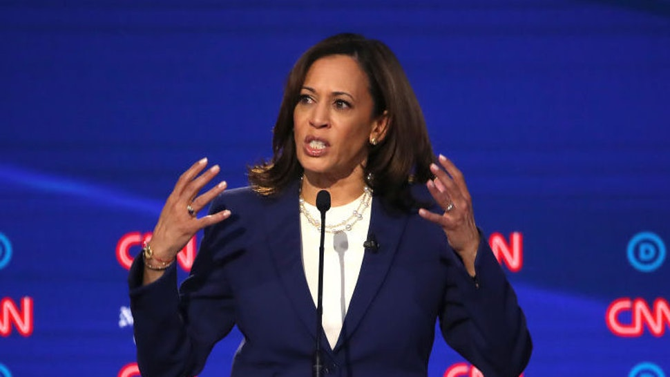 WESTERVILLE, OHIO - OCTOBER 15: Sen. Kamala Harris (D-CA) speaks during the Democratic Presidential Debate at Otterbein University on October 15, 2019 in Westerville, Ohio. A record 12 presidential hopefuls are participating in the debate hosted by CNN and The New York Times.