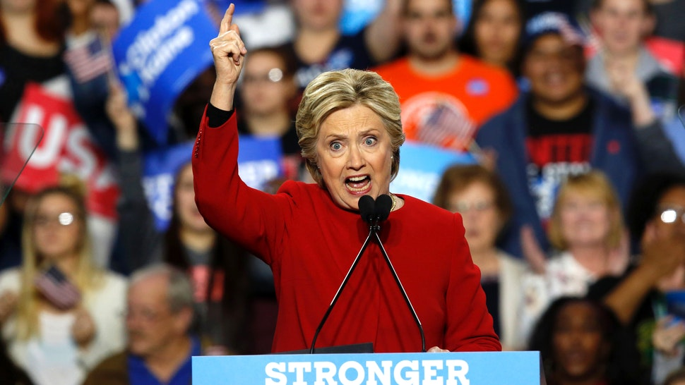 Democratic presidential nominee Hillary Clinton speaks during a rally at the Grand Valley State University Fieldhouse November 7, 2016 in Allendale, Michigan.