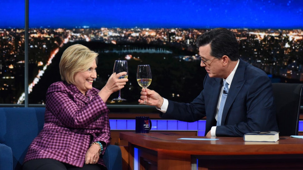 The Late Show with Stephen Colbert and guest Hillary Clinton during Tuesday's September 19, 2017 show. (Photo by Scott Kowalchyk/CBS via Getty Images)