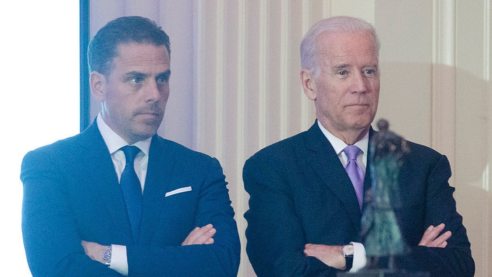 WFP USA Board Chair Hunter Biden introduces his father Vice President Joe Biden during the World Food Program USA's 2016 McGovern-Dole Leadership Award Ceremony at the Organization of American States on April 12, 2016 in Washington, DC. (Kris Connor/WireImage)