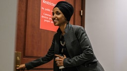 U.S. Rep. Ilhan Omar (D-MN) arrives to a closed session before the House Intelligence, Foreign Affairs and Oversight committees October 22, 2019 in Washington, DC. Bill Taylor, the top U.S. diplomat to Ukraine, is testifying to house committees in the impeachment inquiry of President Donald Trump relating to the US-Ukraine relationship.