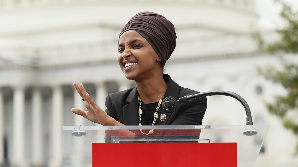 """WASHINGTON, DC - SEPTEMBER 26: Rep. Ilhan Omar (D-MN) speaks at the """"Impeachment Now!"""" rally in support of an immediate inquiry towards articles of impeachment against U.S. President Donald Trump on the grounds of the U.S. Capital on September 26, 2019in Washington, DC."""