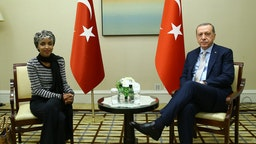 Turkish President Recep Tayyip Erdogan (R) meets Minnesota State Representative Ilhan Omar (L) in United States ahead of the 72nd session of the United Nations General Assembly as well as to pay a number of varied visits.