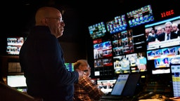 CNN President Jeff Zucker, in the network control room during the Mueller hearings, on July, 22, 2019 in Washington, DC. (Photo by Bill O'Leary/The Washington Post)