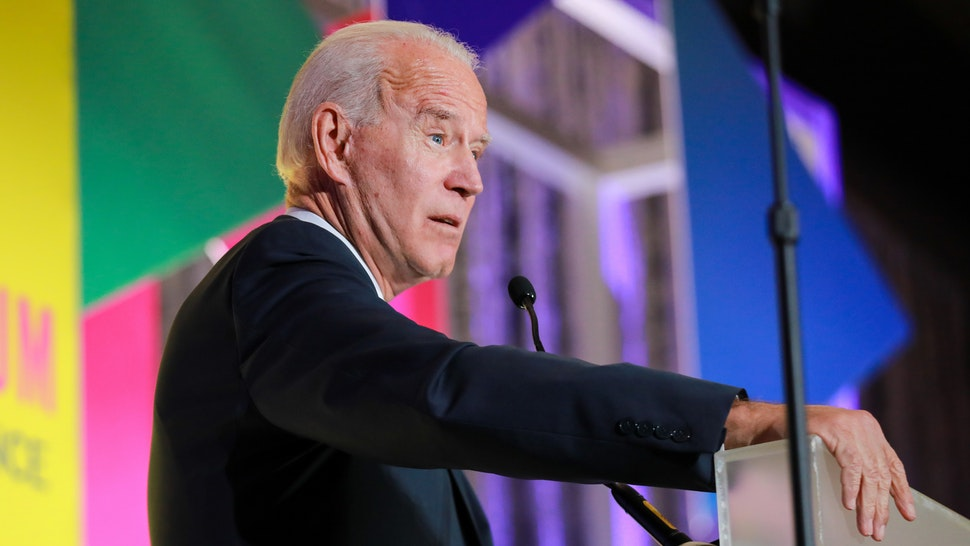 Former U.S. Vice President Joe Biden, a 2020 Democratic presidential candidate, speaks during the DNC Women's Leadership Forum conference in Washington, D.C., U.S., on Thursday, Oct. 17, 2019. The WLF serves as the Democratic Party's centralized hub for activation, information, and fundraising for Democratic women and their allies.