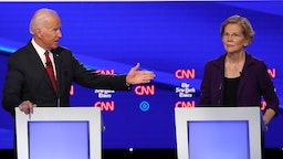 Former Vice President Joe Biden challenges Sen. Elizabeth Warren (D-MA) during the Democratic Presidential Debate at Otterbein University on October 15, 2019 in Westerville, Ohio. A record 12 presidential hopefuls are participating in the debate hosted by CNN and The New York Times. (Photo by Win McNamee/Getty Images)
