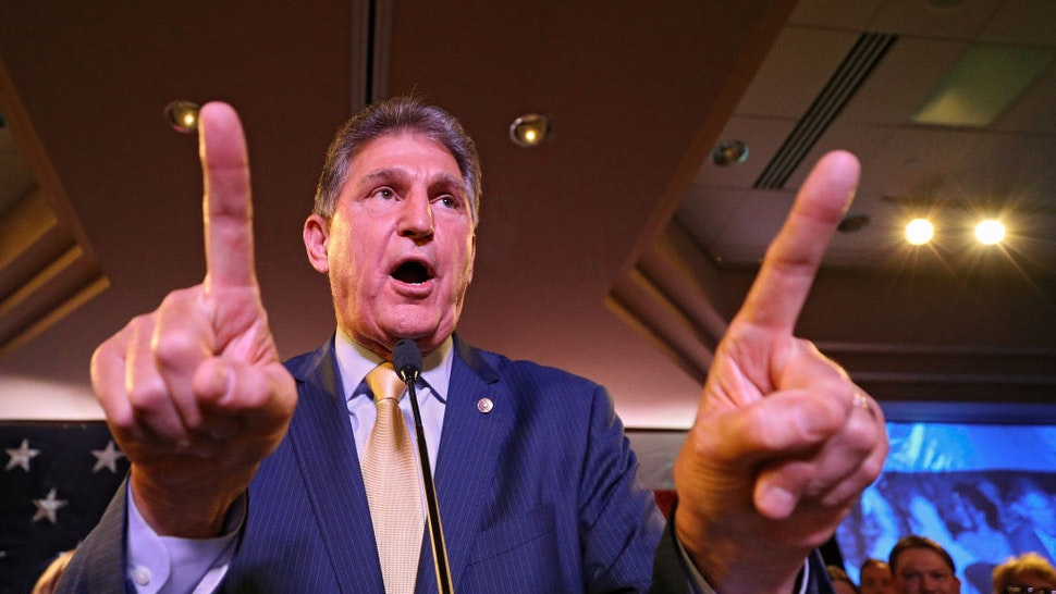 Joe Manchin celebrates at his election day victory party at the Embassy Suites