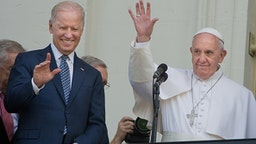 WASHINGTON D.C., CA - SEPTEMBER 24: Pope Francis is joined by Vice President Joseph Biden after addressing Congress on his first U.S. visit.