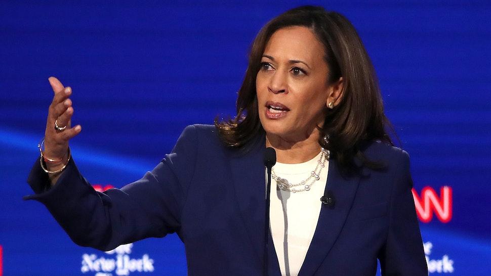 Sen. Kamala Harris (D-CA) speaks during the Democratic Presidential Debate at Otterbein University on October 15, 2019 in Westerville, Ohio.