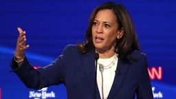 Sen. Kamala Harris (D-CA) speaks during the Democratic Presidential Debate at Otterbein University on October 15, 2019 in Westerville, Ohio.