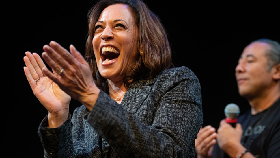 Senator Kamala Harris, a Democrat from California and 2020 presidential candidate, reacts during a Gun Safety Round table in Seattle, Washington, U.S., on Friday, Sept. 27, 2019. Kamala's gun safety agenda includes universal background checks, an assault weapons ban, and the repeal of the NRA's corporate gun manufacturer immunity shield.