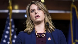 Rep. Katie Hill (D-CA) speaks during a news conference on April 9, 2019 in Washington, DC. House Democrats unveiled new letters to the Attorney General, HHS Secretary, and the White House demanding the production of documents related to Americans health care in the Texas v. United States lawsuit.