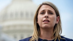UNITED STATES - JUNE 25: Rep. Katie Hill, D-Calif., speaks at a press conference to introduce ACTION for National Service outside of the Capitol on Tuesday June 25, 2019.