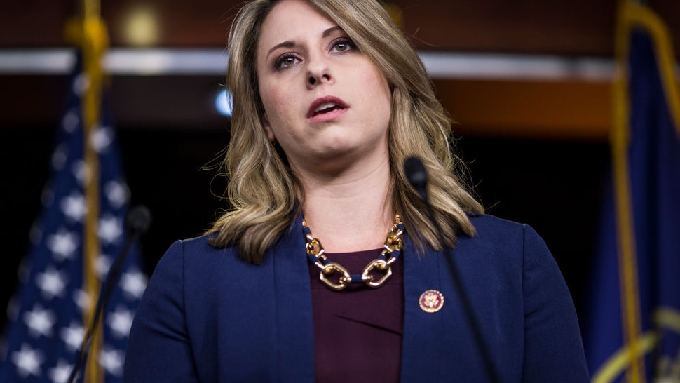 Rep. Katie Hill speaks during a news conference