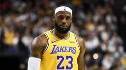 LeBron James #23 of the Los Angeles Lakers plays in a preseason game against the Brooklyn Nets as part of 2019 NBA Global Games China at Mercedes-Benz Arena on October 10, 2019 in Shanghai, China. NOTE TO USER: User expressly acknowledges and agrees that, by downloading and/or using this Photograph, user is consenting to the terms and conditions of the Getty Images License Agreement. (Photo by Yanshan Zhang/Getty Images)