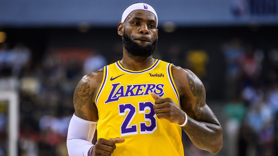 #23 Lebron James of the Los Angeles Lakers reacts during a preseason game as part of 2019 NBA Global Games China at Shenzhen Universiade Center on October 12, 2019 in Shenzhen, Guangdong, China.