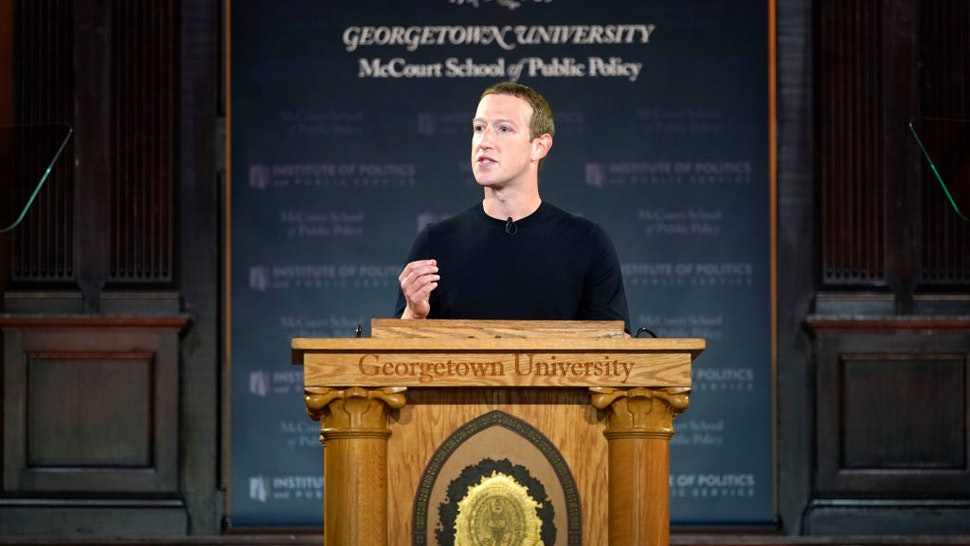 Facebook CEO Mark Zuckerberg leads a conversation on free expression at Georgetown University