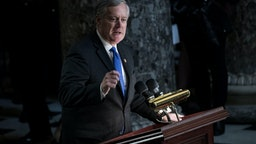 Representative Mark Meadows speaks during a memorial service for late Elijah Cummings