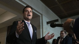 Representative Matt Gaetz, a Republican from Florida, speaks to members of the media after leaving a closed-door testimony with Fiona Hill, former National Security Council Russia expert, on Capitol Hill in Washington, D.C., U.S., on Monday, Oct. 14, 2019. Hill's testimony kicks off what could be a pivotal week in the probe, with at least three other witnesses scheduled to appear before the Intelligence, Foreign Affairs and Oversight and Reform committees. Photographer: Stefani Reynolds/Bloomberg